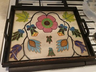 Antique unique arts and crafts beaded flowers picture wooden serving tray