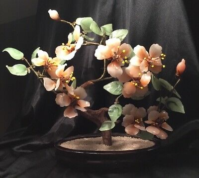 Vintage Antique collectable Peach jade glass Old Ornamental flower BONSAI tree