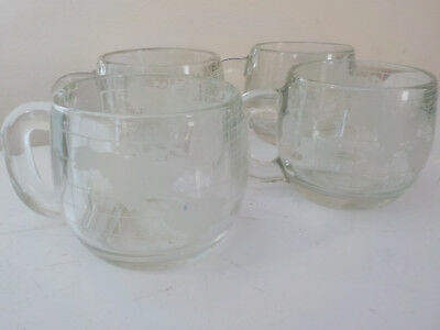 Set of 4 Nestle World Globe Coffee Mugs Clear & Frosted Glass, great condition