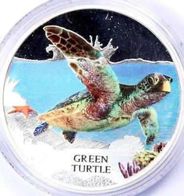 Tuvalu 1 Dollar 2014 1 Oz Silver Proof Coin, Colored Green Turtle w/Box & Cert.