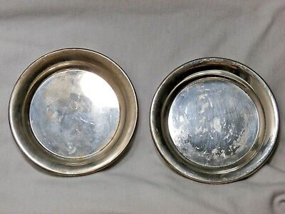 Set Of (2) - 3 Inch Vintage Antique Sterling Silver Small Plate Dish 39 grams