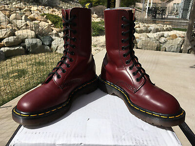 90s Vintage Dr Martens US 6 Oxblood Cherry Red 10-eye boot 1490 1460 shoe doc 4