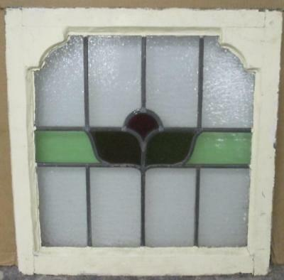 "OLD ENGLISH LEADED STAINED GLASS WINDOW Very Pretty Floral 21"" x 22"""