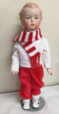 """German Character Boy doll  antique reproduction  Porcelain Head  Compo Body 16 """""""