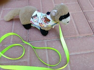 Ferret Harness and Matching Lead - Colorful Owls - M/L