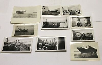 WWII U.S.N. 10 Photographs Aircraft Carrier, Destroyer, Dry Dock Original