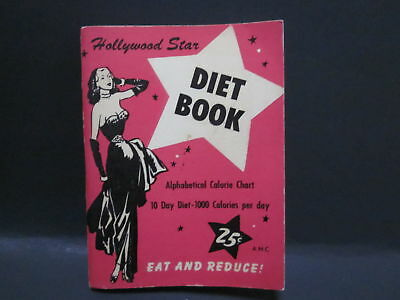 1954 Vintage Hollywood Star Diet Book Alphabetical Calorie Chart 10-Day 25 cent