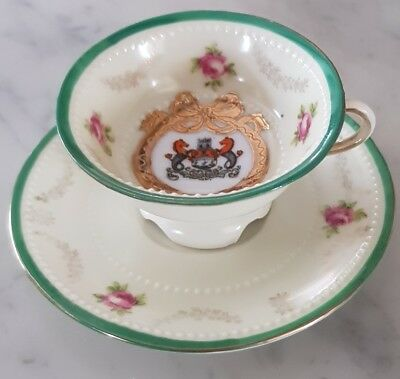 Vintage Victoria Ware small cup and saucer with Cambridge coat of arms emblem