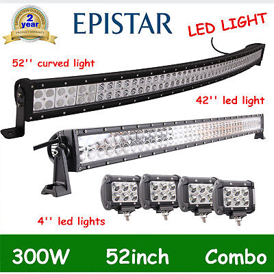 52'' 300W LED Curved Spot Flood Light Bar+42inch 240W+4pcs 18W Offroad Lamp SALE