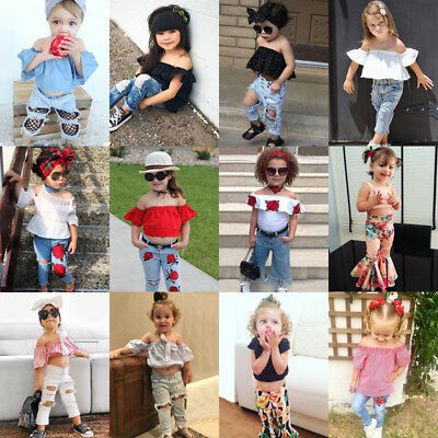 USA Canis Toddler Kids Baby Girls Off Shoulder Tops Denim Pants Outfits Clothes