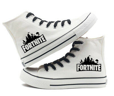 Fortnite battle royale Canvas Shoes High Top Flat Unisex Black Causal Shoe