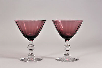 Antique Elegant Glass Pair of Footed Sherbet Amethyst Purple Optic