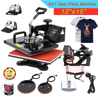 "12""x15"" 5IN1 Combo T-Shirt Heat Press Transfer Machine Sublimation Swing Away"