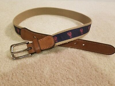 Boys Belt - Navy with Red Lobsters - Size M or 26-28 inches