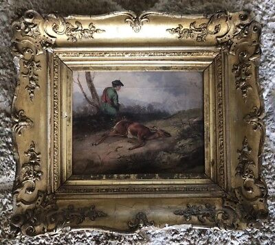 Antique 19th Century Vintage Oil Painting of English Stag Hunting Scene Signed