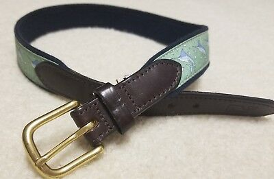 Vineyard Vines Boys Green Marlin Belt - Size 26
