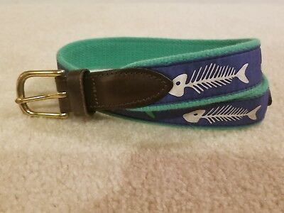 Boys Vineyard Vines Blue/Green Fishbone Belt - Size 26