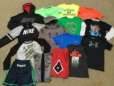 Boys Nike Under Armour Lot Sz 6 7 Youth XS Shorts Shirts Hoodie Athletic