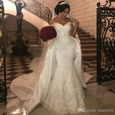 Arabic Lace Mermaid Wedding Dress Detachable Train Off Shoulder Bridal Ball Gown