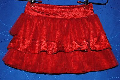 Girls Red Velour Tiered Knit Skirt w Netting Size 5