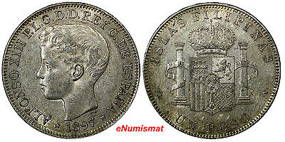 Philippines Alfonso XIII of Spain Silver 1897-SGV Peso XF.Nice Tone KM154(10155)