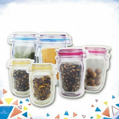1/5Pcs Reusable Mason Jar PE Lock Pouches Smell Proof Food Storage Zipper Bags
