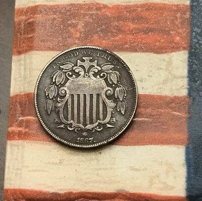 1867 5C Shield Nickel Vintage US Copper Coin #MM3 Very Sharp Wow