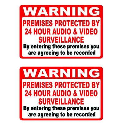 2 Warning Premises protected by Video and Audio Surveillance CCTV Stickers Sign