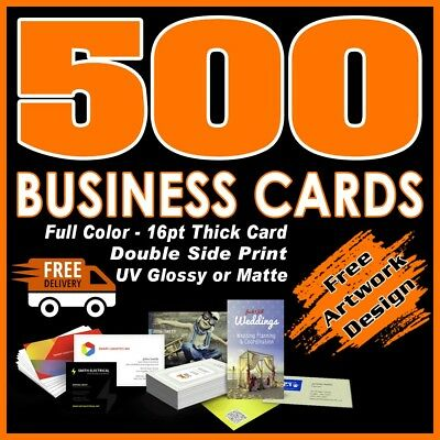 500 Business Cards Full Color 2 Side Printing UV Coated-Free Design-Shipping