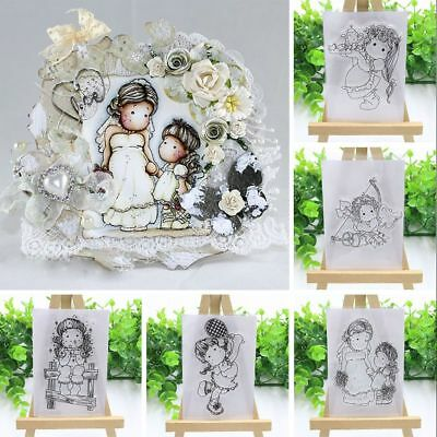 DIY Lovely Girl Transparent Clear Rubber Stamps Silicone Scrapbooking Decoration