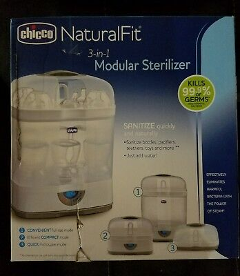 Chicco NaturalFit 3-in-1 Modular Baby Bottle Sterilizer, Grey Sanitize Fast NEW