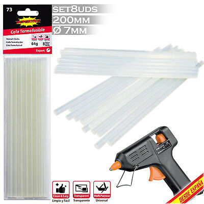 Ricambio Pistola Silicone Calda Colla 8 Barre 7Mm X 20Cm Hot Melt Sticks