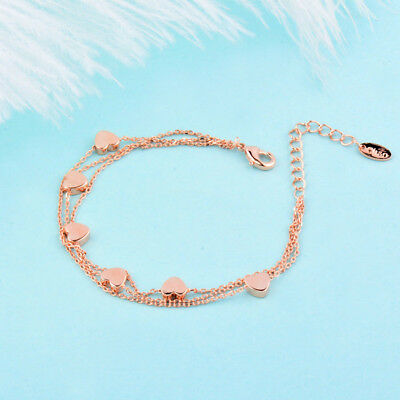 Charm Star 3 Layer Chain Bracelet Bangle For Women Girl White/Rose Gold