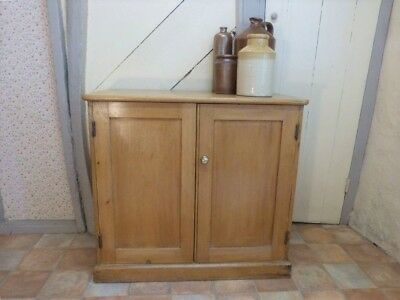 Antique Victorian Pine Cupboard with Two Doors, Useful Pine Unit good storage