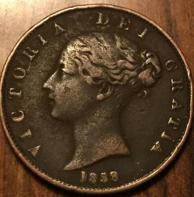 1858 UK VICTORIA HALFPENNY - A great example !