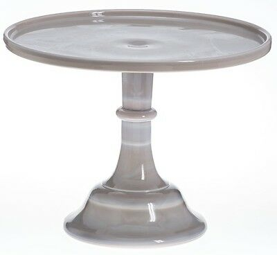 Cake Plate Pastry Tray Bakers Stand Plain & Simple Mosser Gray Swirl Glass - 10""