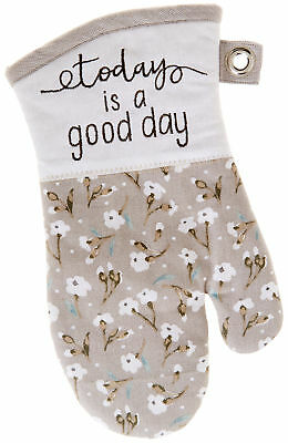 Kay Dee Designs Handmade By Lisa Floral Oven Mitt One Size Grey/white