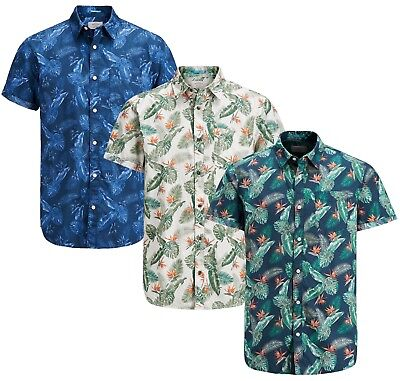 JACK & JONES Paka Floral Short Sleeve Shirt New Men Cotton Slim Fit Smart Shirts