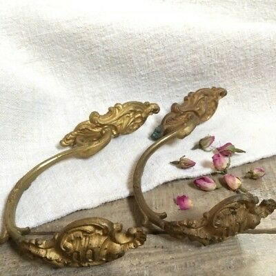 Pair Genuine Antique French Brass Chateau Curtain Tie Back/hooks