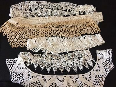Vintage Hand Made Crochet Tatting Lace Trims Edging-Assorted Lot of 5 Yards