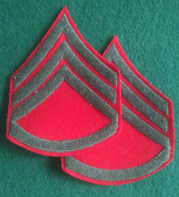 Original Pair of WWII USMC Platoon Sergeant Sgt Rank Winter Chevron Red / Green