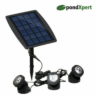 Solar Pond Lights Spotlights LED Underwater Outdoor Garden Lighting Set of 3