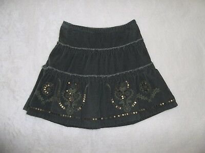 XS 5 Old Navy Green Corduroy Sequined & Embroidered Print Skirt