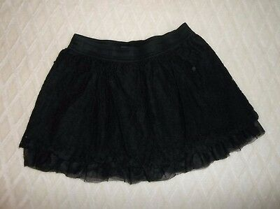 Sz L 10 12 Faded Glory Black Lace Lined Skirt