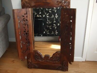 Large Antique French Oak Carved Shutter Mirror