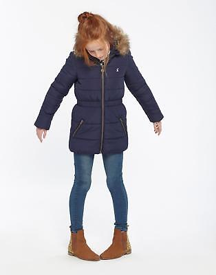 Joules Girls Belmont Padded Coat with Faux Fur Hood 3-12 years in French Navy