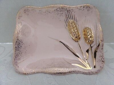 "1956 Lefton Ceramic Pink & Gold Trinket / Soap  Dish~Wheat Design~4.5"" Long X 4"""