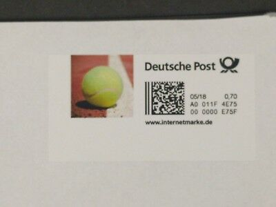 Bedarfsbrief mit Internet-Briefmarke Motiv Tennis - Ball