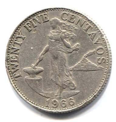 1966 Philippines 25 Centavos Coin - Central Bank of the Philippines