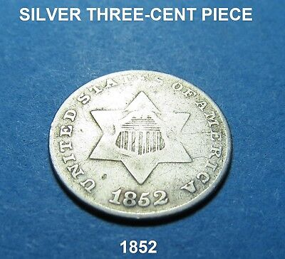 1852 Silver Three-Cent Piece ~ Nice! ~ Combined Shipping Lot A36